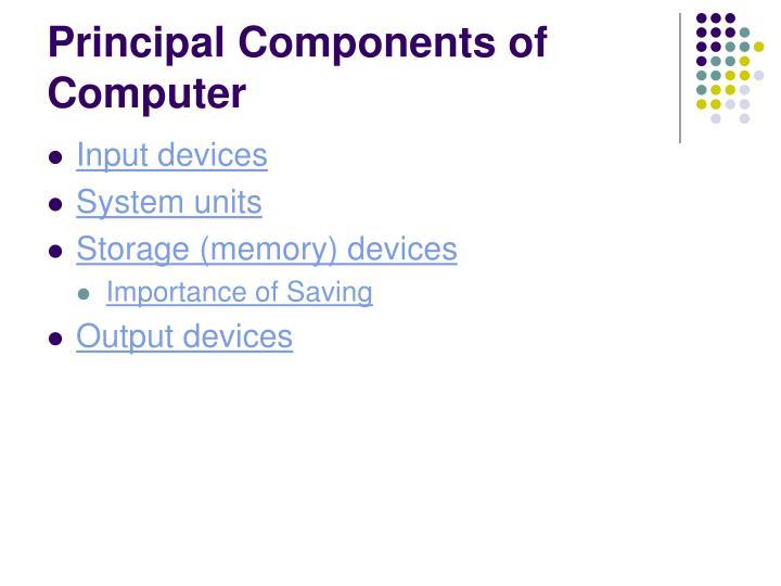 Principal Components of Computer