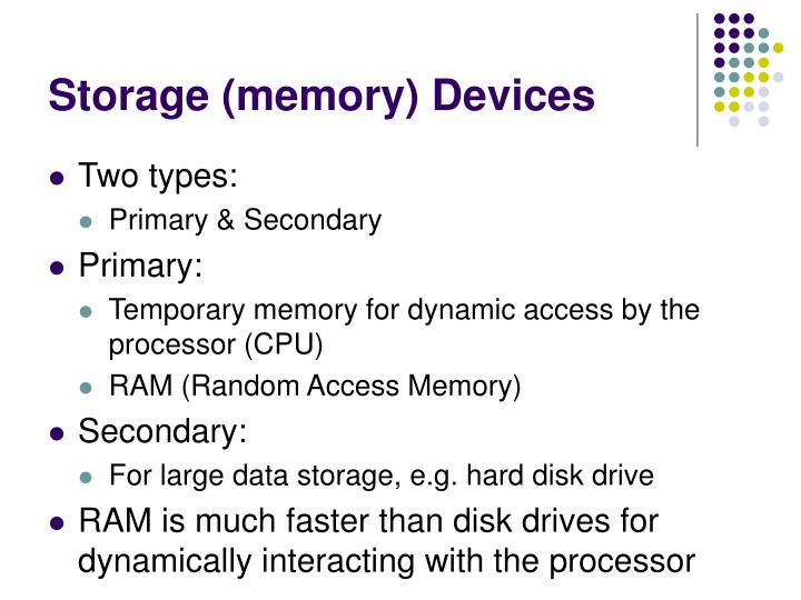 Storage (memory) Devices
