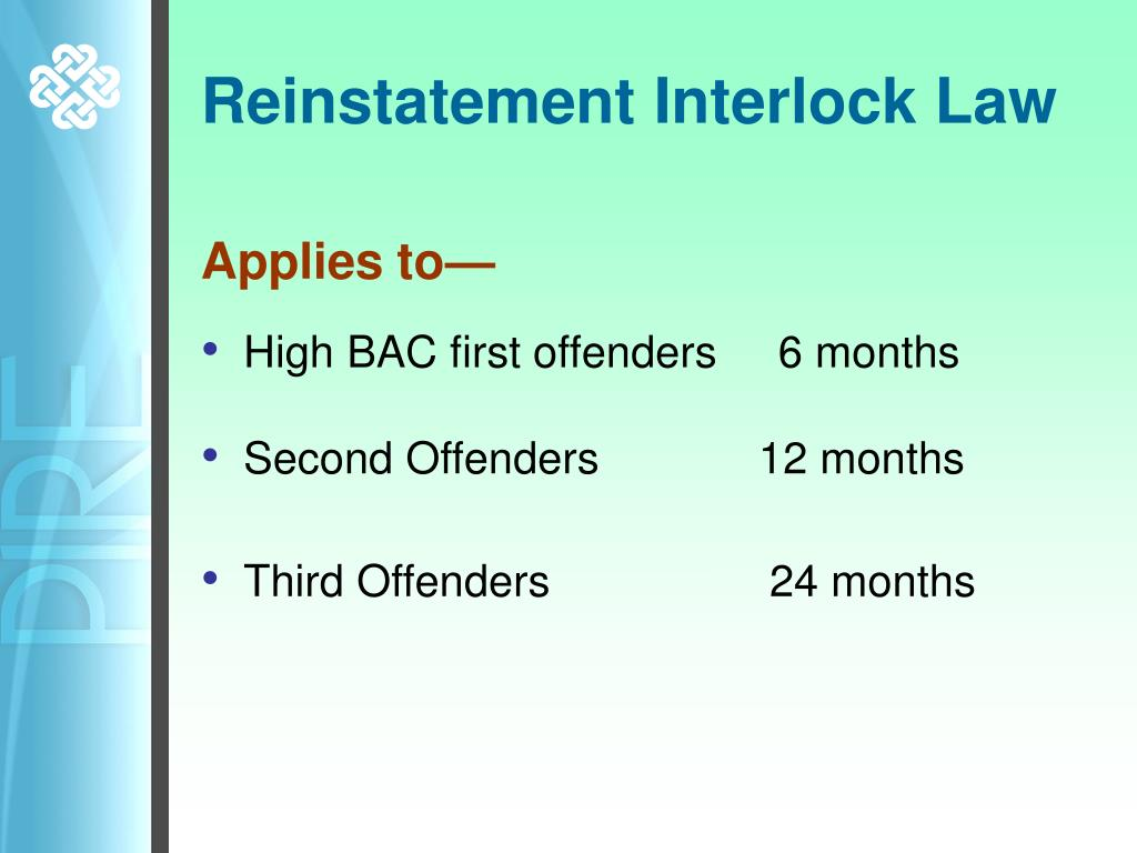 Reinstatement Interlock Law