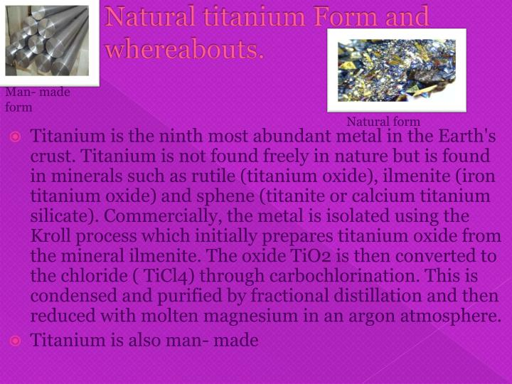 Natural titanium Form and whereabouts.