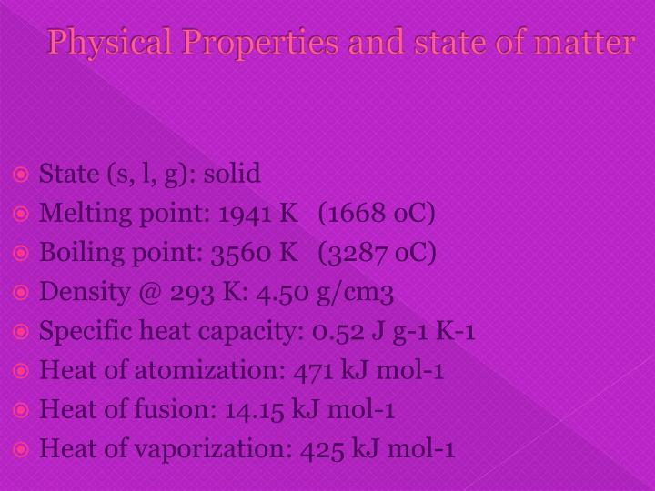 Physical Properties and state of matter