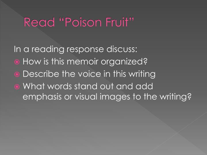 "Read ""Poison Fruit"""