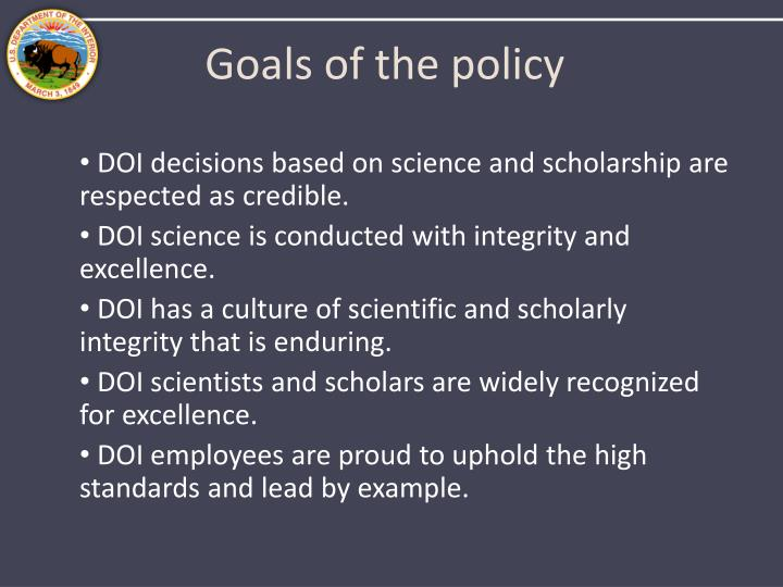 Goals of the policy