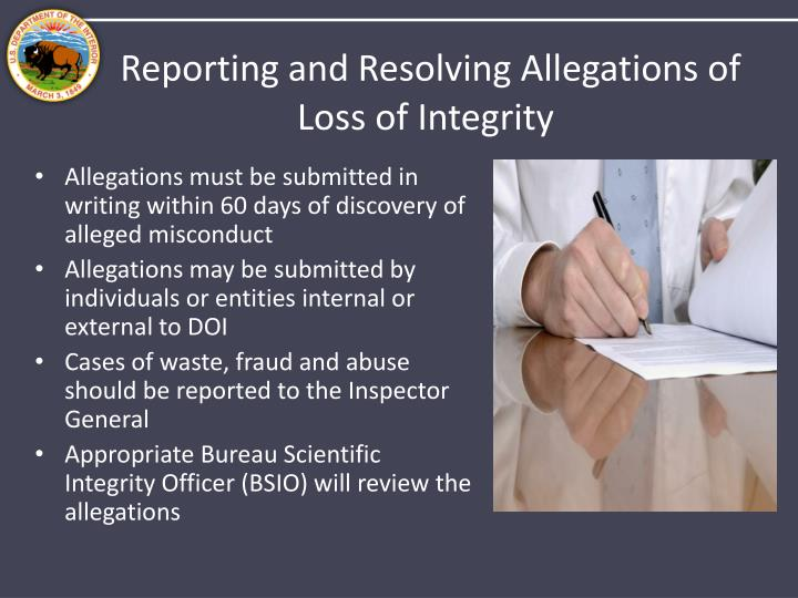 Reporting and Resolving Allegations of Loss of Integrity