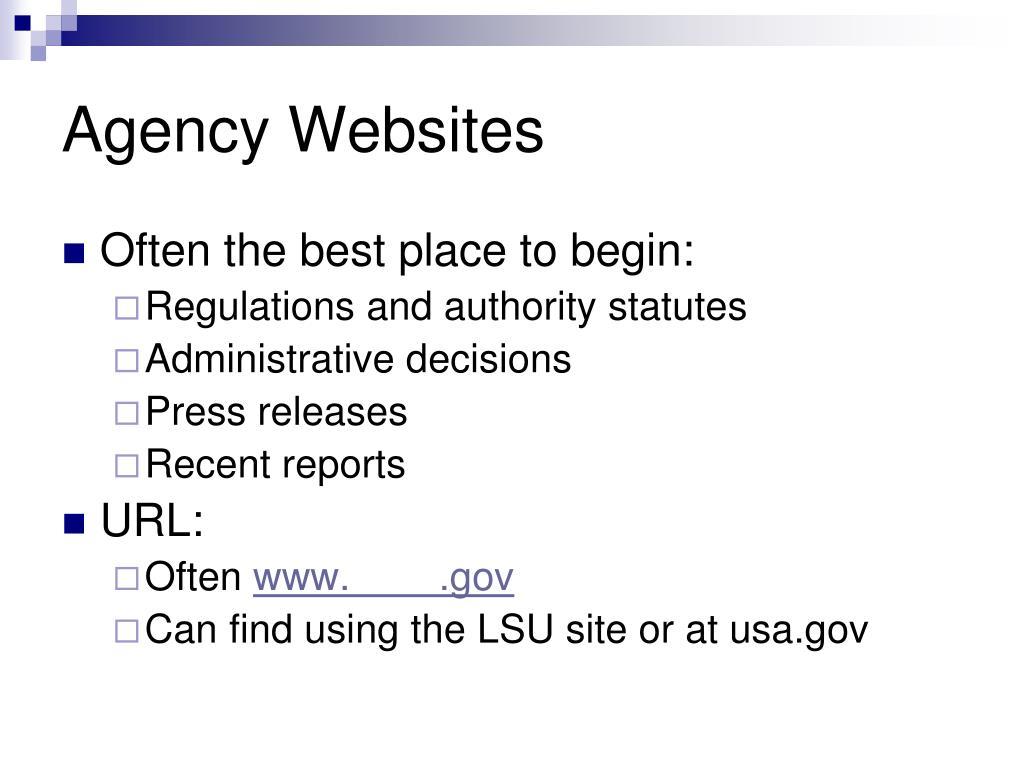 Agency Websites