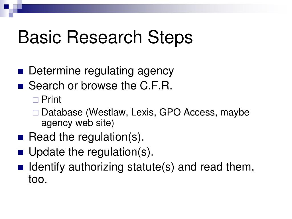 Basic Research Steps