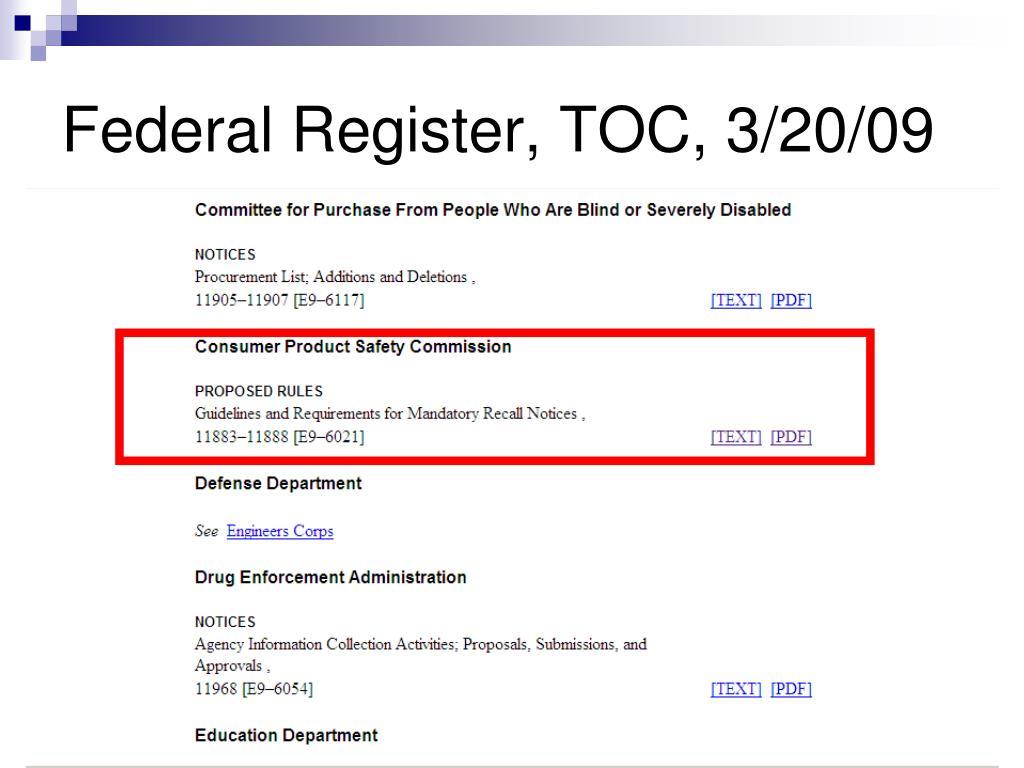 Federal Register, TOC, 3/20/09