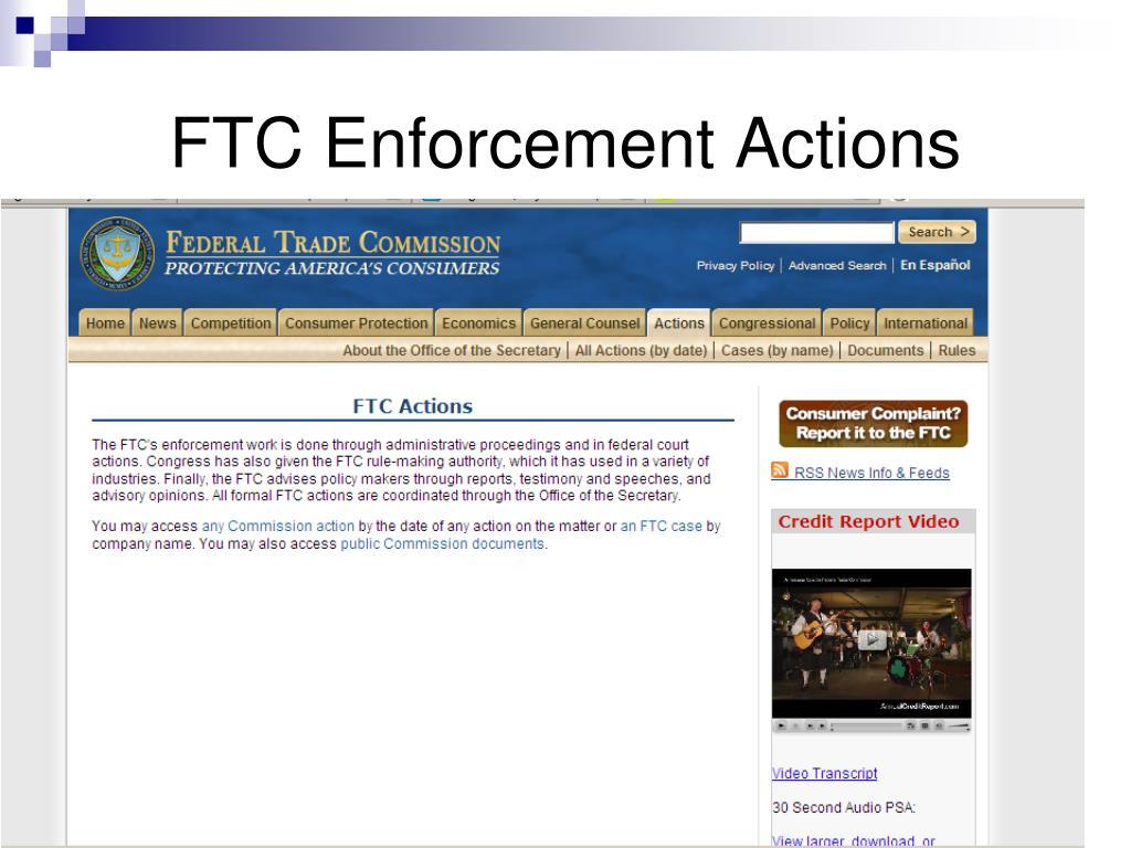 FTC Enforcement Actions