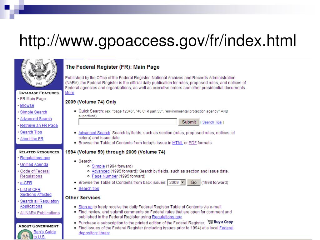 http://www.gpoaccess.gov/fr/index.html