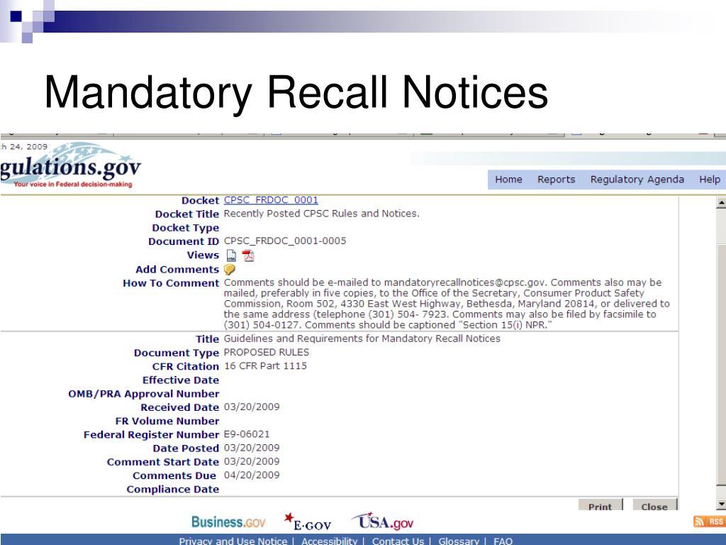 Mandatory Recall Notices