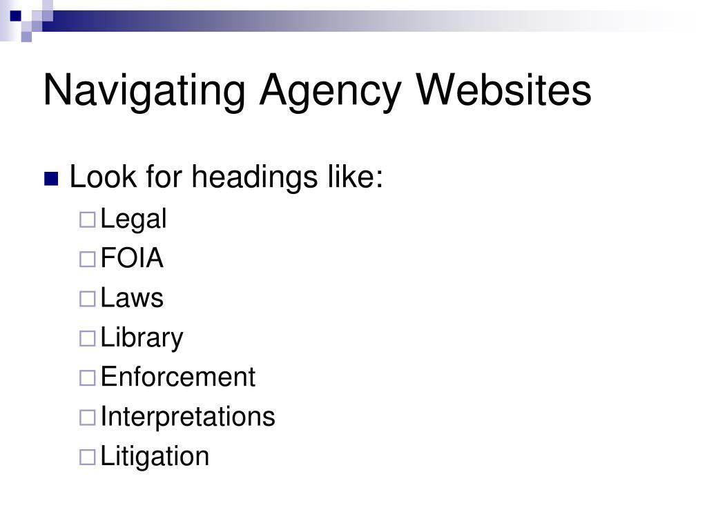 Navigating Agency Websites
