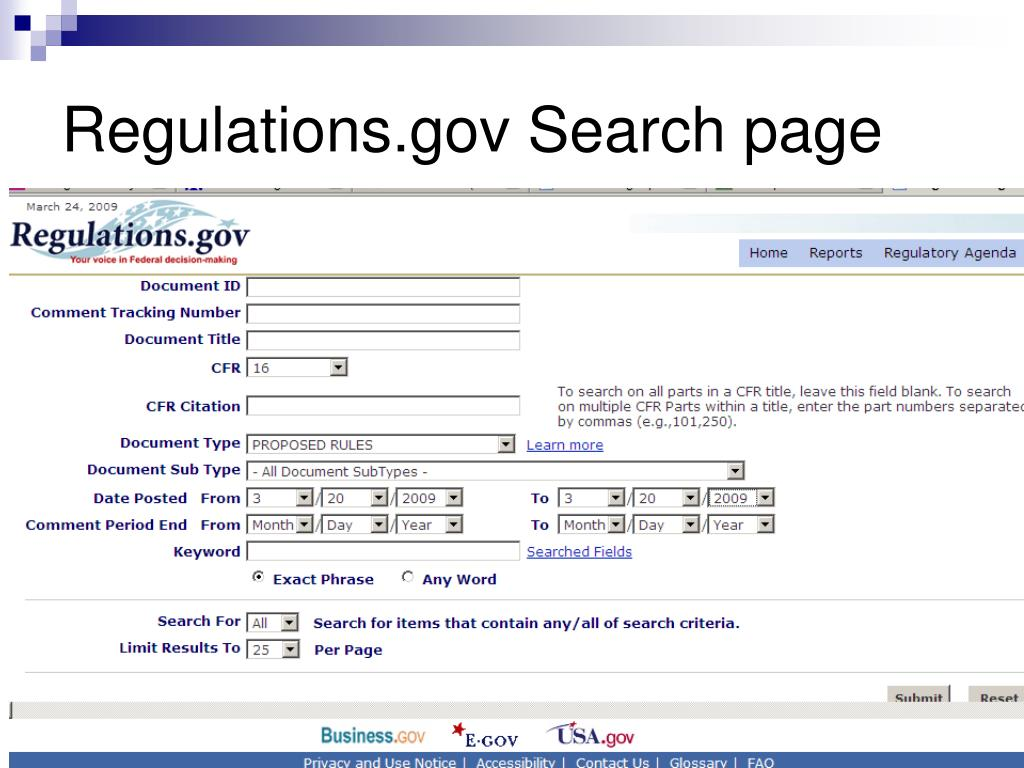 Regulations.gov Search page