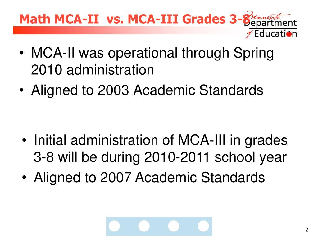 Math MCA-II  vs. MCA-III Grades 3-8
