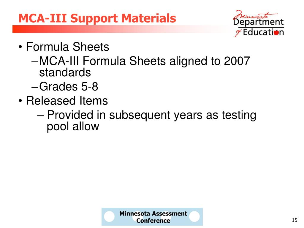 MCA-III Support Materials