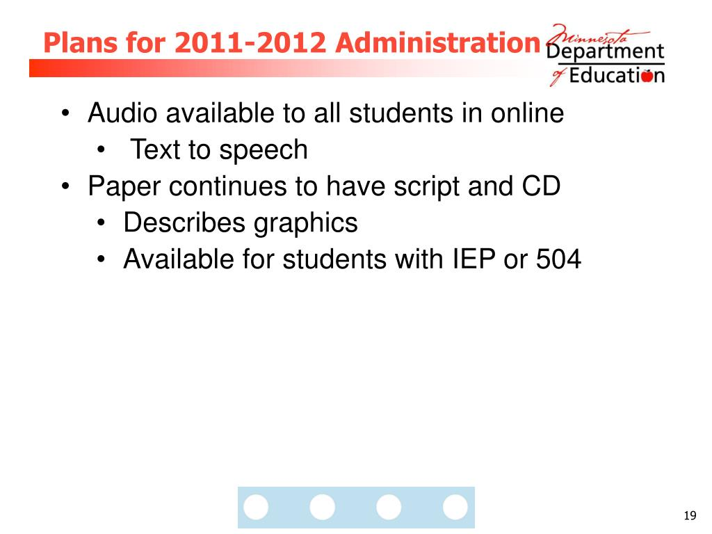 Plans for 2011-2012 Administration