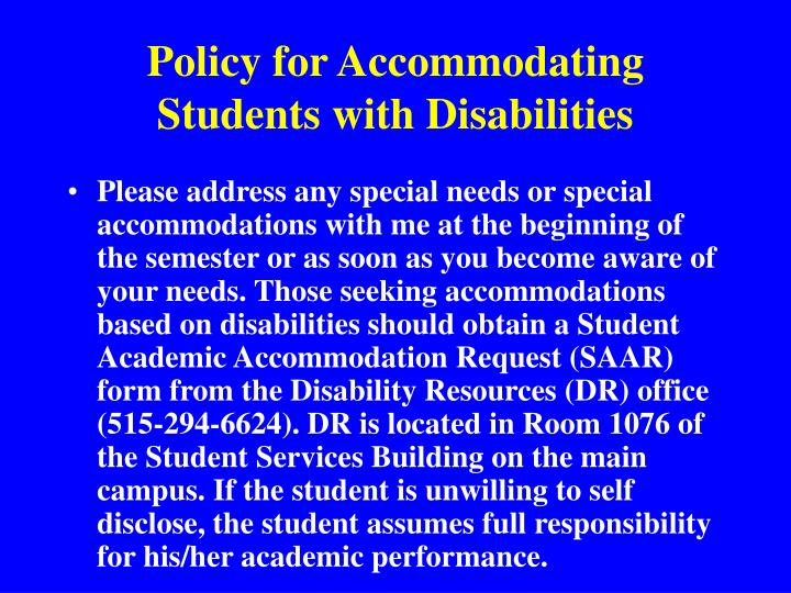 Policy for Accommodating Students with Disabilities