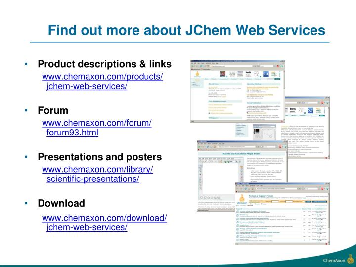 Find out more about JChem Web Services