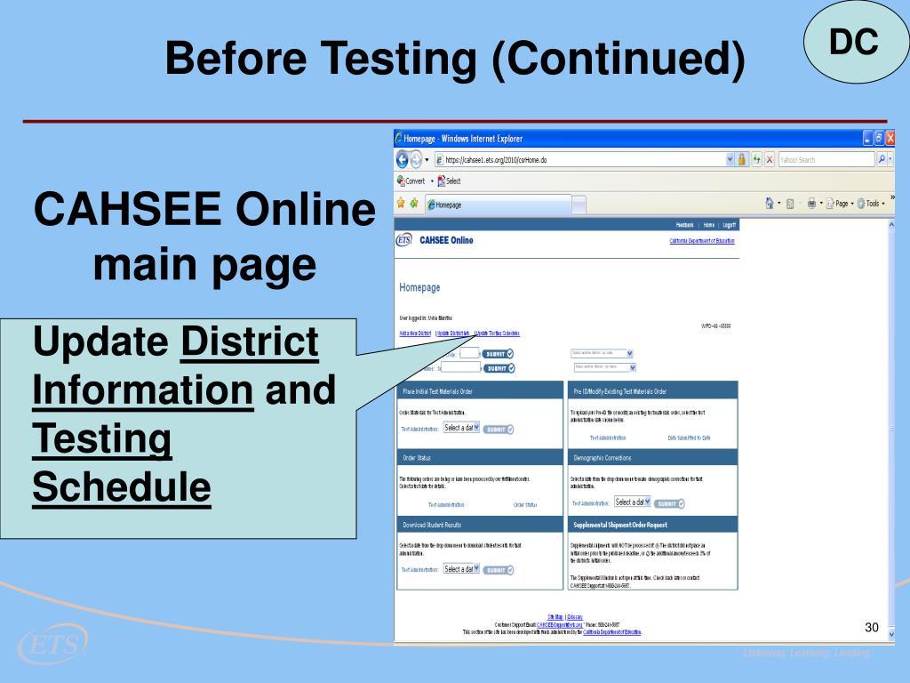 CAHSEE Online main page