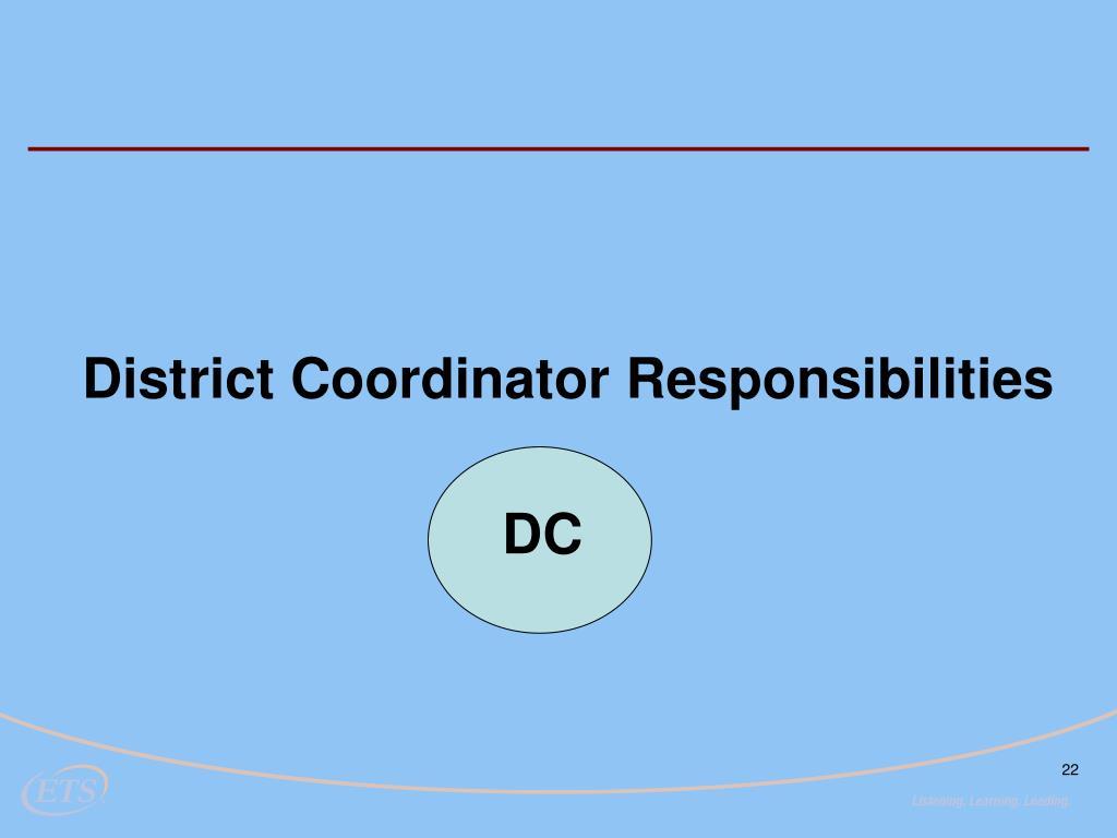 District Coordinator Responsibilities
