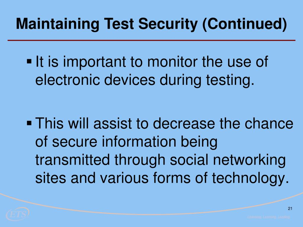 Maintaining Test Security (Continued)