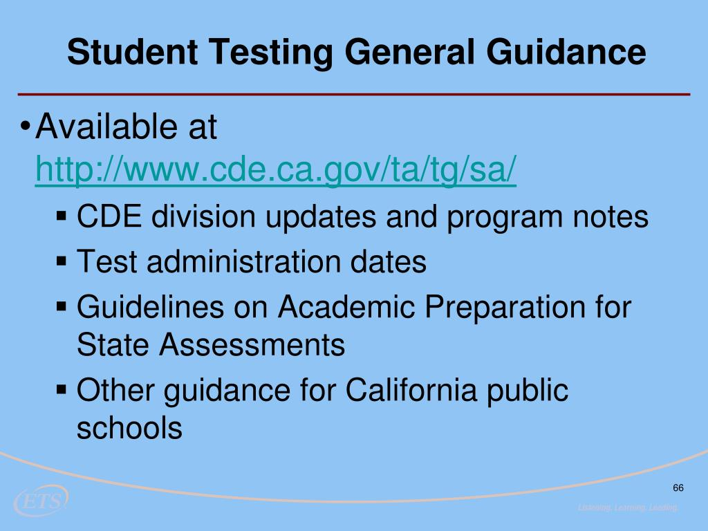 Student Testing General Guidance
