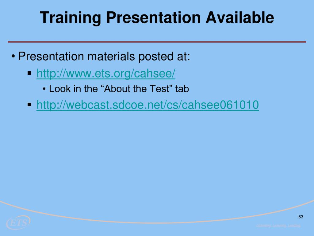 Training Presentation Available