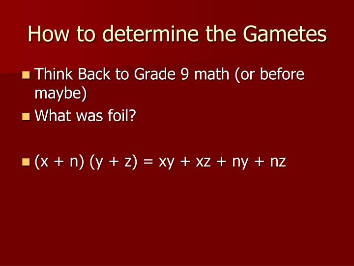 How to determine the Gametes