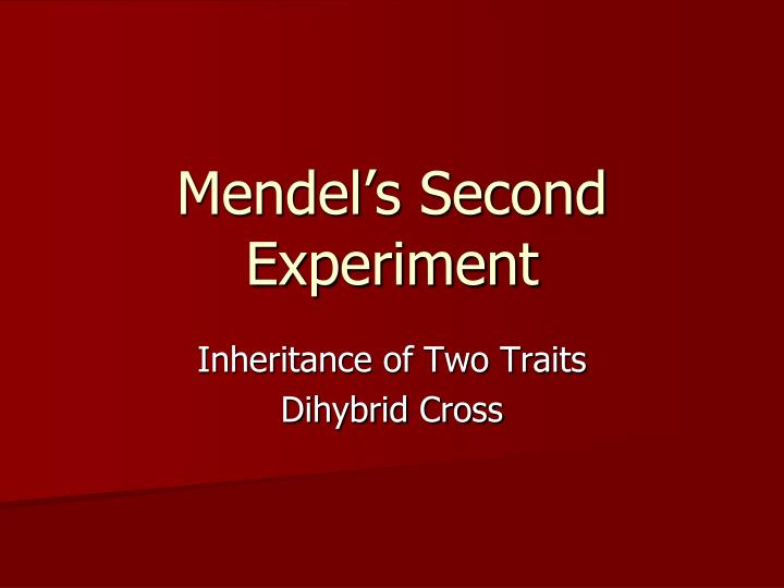Mendel s second experiment