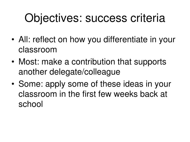 Objectives: success criteria