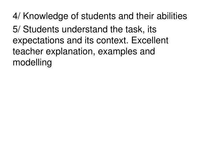 4/ Knowledge of students and their abilities