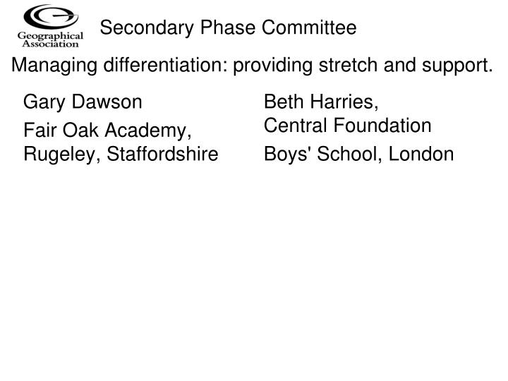 Secondary Phase Committee