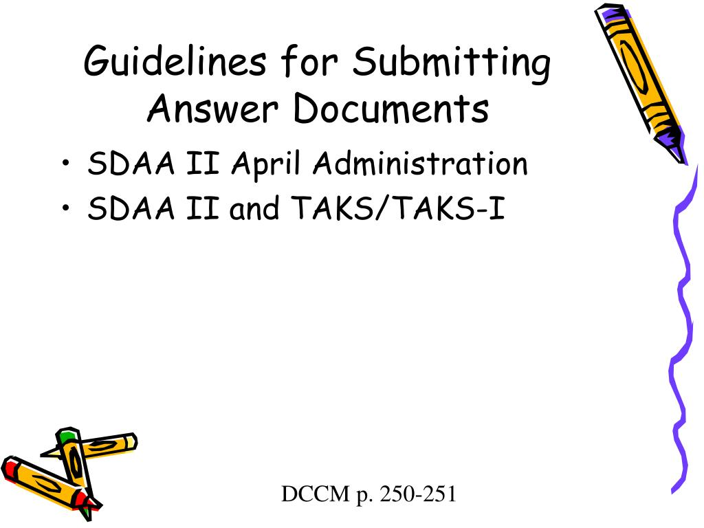 Guidelines for Submitting Answer Documents