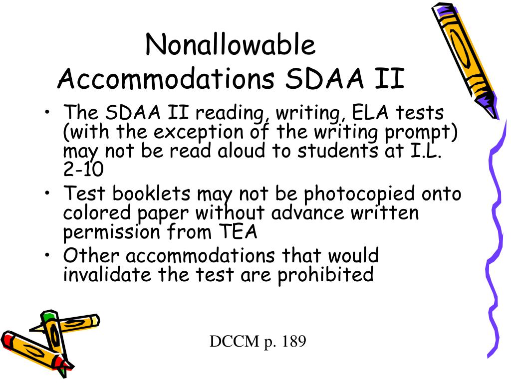 Nonallowable Accommodations SDAA II