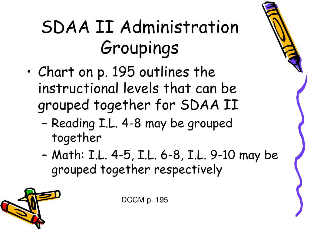 SDAA II Administration Groupings