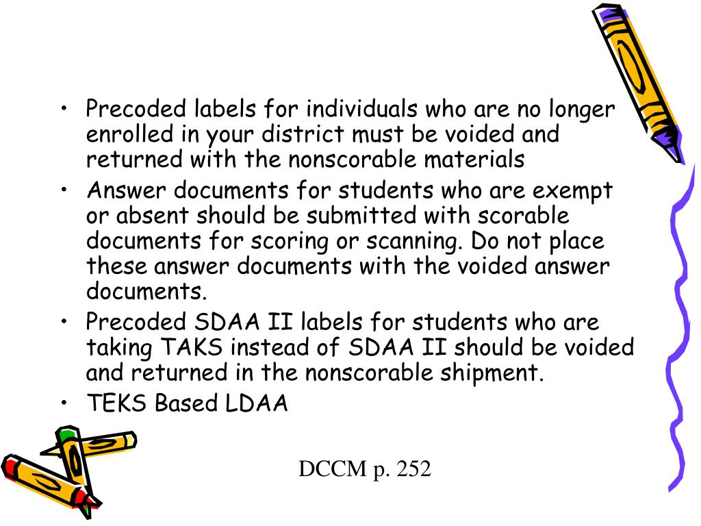 Precoded labels for individuals who are no longer enrolled in your district must be voided and returned with the nonscorable materials