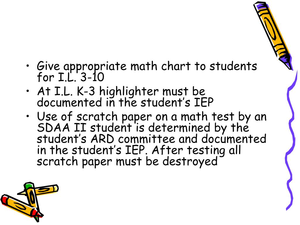 Give appropriate math chart to students for I.L. 3-10