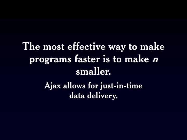 The most effective way to make programs faster is to make