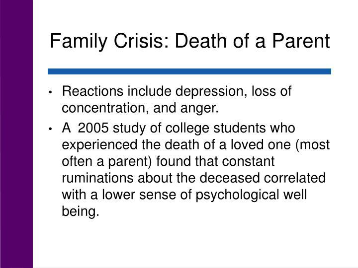 Family Crisis: Death of a Parent