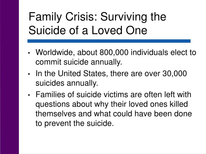 Family Crisis: Surviving the Suicide of a Loved One