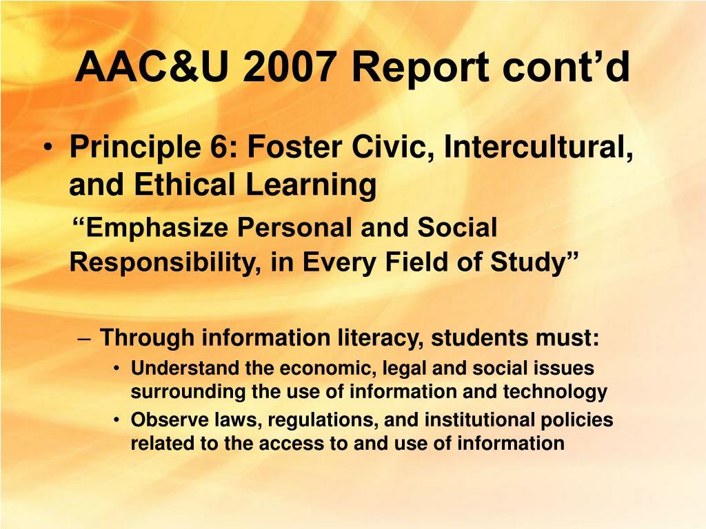 AAC&U 2007 Report cont'd