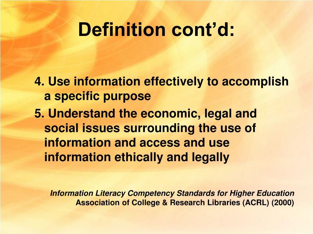 Definition cont'd: