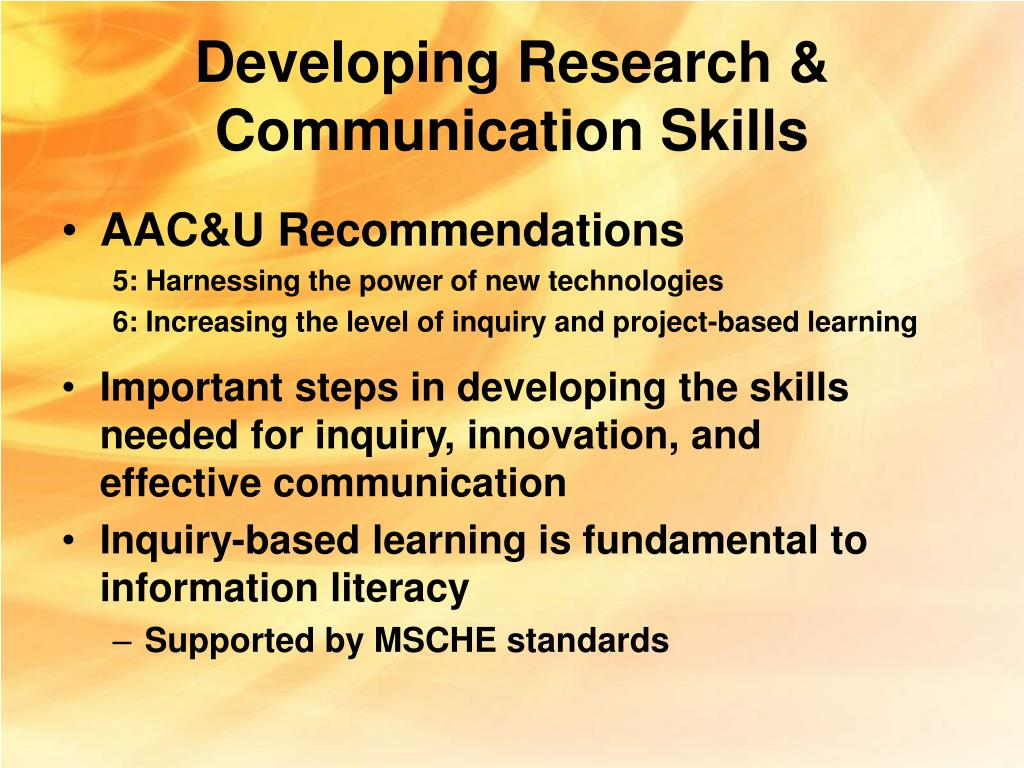 Developing Research & Communication Skills