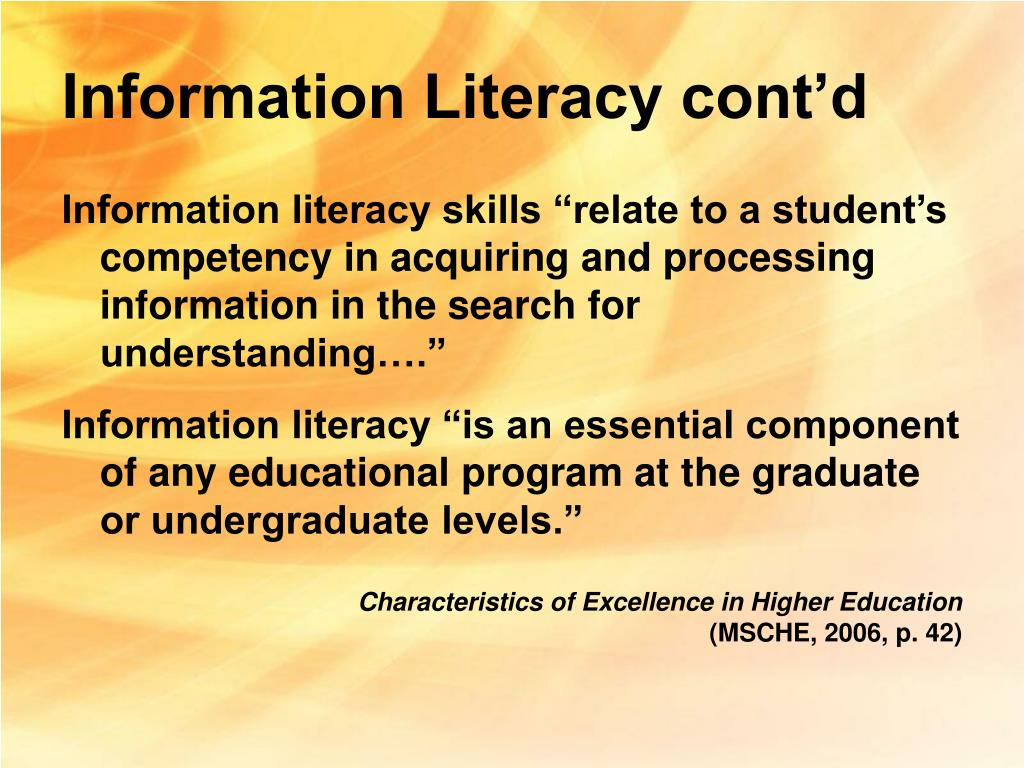 Information Literacy cont'd