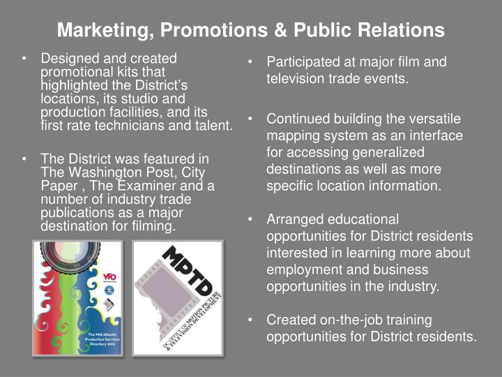 Marketing, Promotions & Public Relations