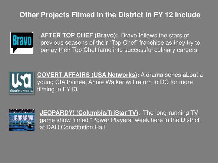 Other Projects Filmed in the District in FY 12 Include