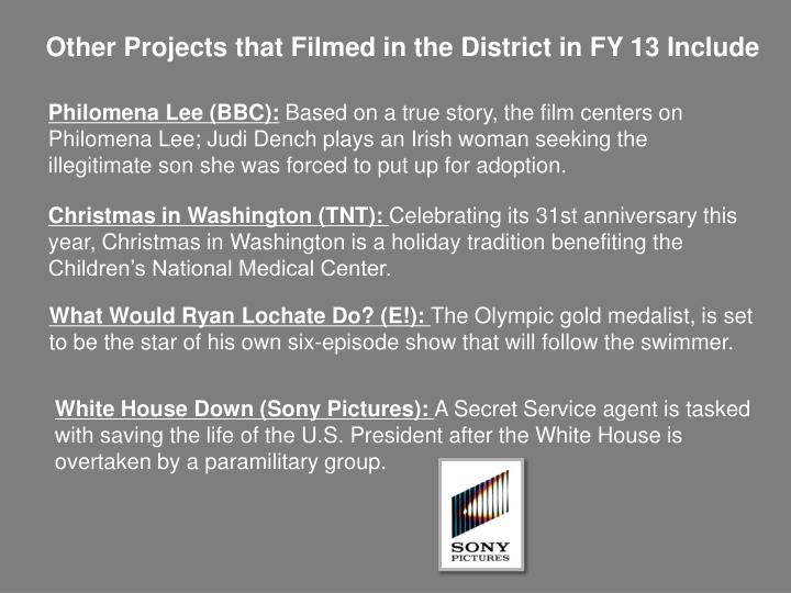 Other Projects that Filmed in the District in FY 13 Include