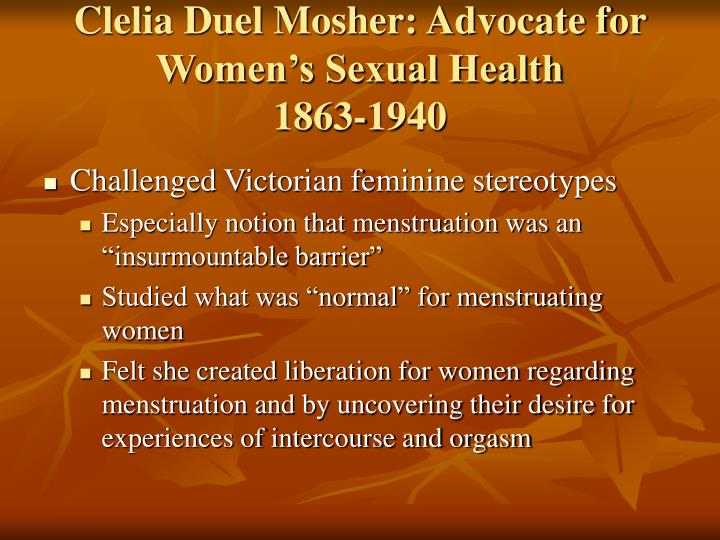 Clelia Duel Mosher: Advocate for Women's Sexual Health