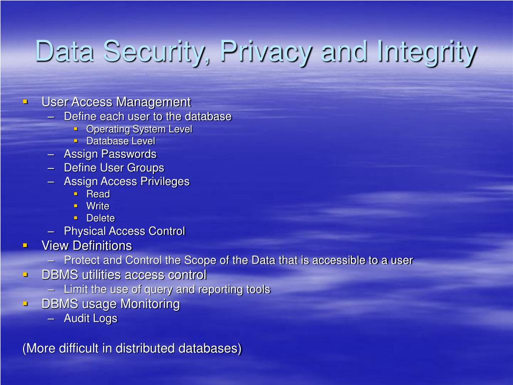 Data Security, Privacy and Integrity