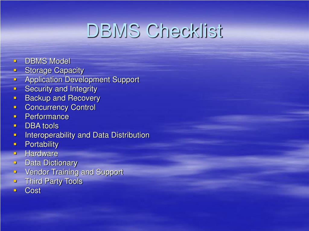DBMS Checklist