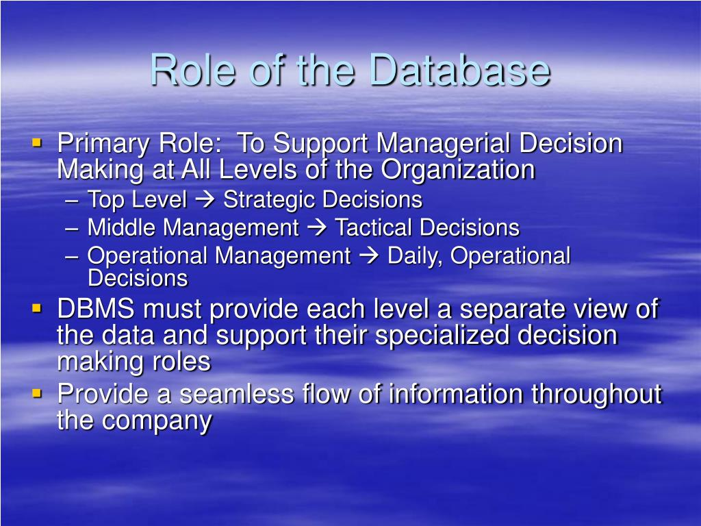 Role of the Database